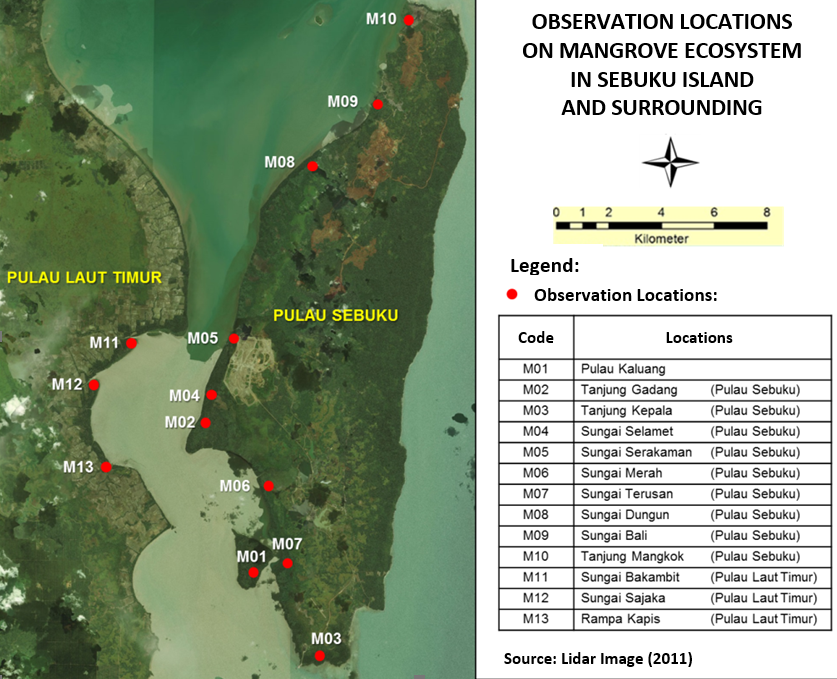 observation locations on mangrove ecosystem in sebuku island and surrounding